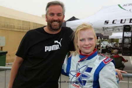 Logan with her dad Graeme when she first started karting