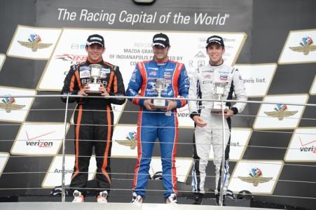 Ed Jones in third on the podium race 1
