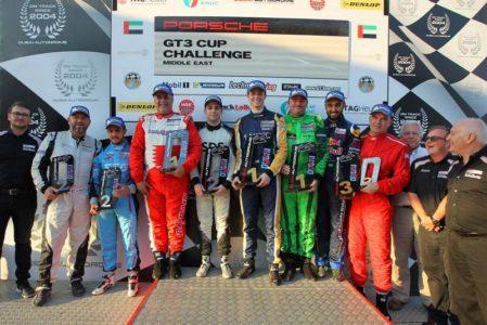 Porsche Cup: Porsche GT3 Cup Challenge ME drivers on the Autodrome podium