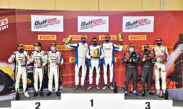 BIC: His Highness Shaikh Isa bin Abdulla Al Khalifa and his 2 Seas Motorsport crew are victorious on Gulf 12H debut