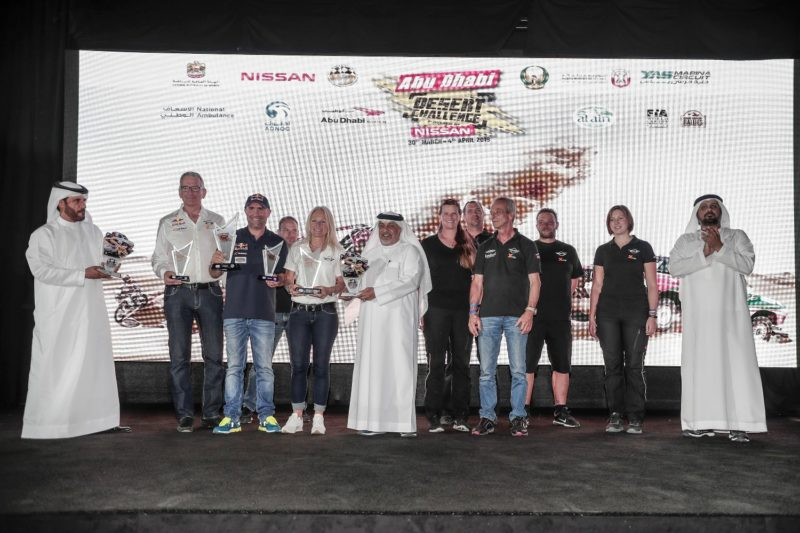 Cars winners, French driver Stephane Peterhansel and co-driver Andrea Peterhansel
