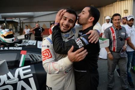 SkyDive Dubai's duo of Shk Hasher Al Maktoum congratulating Saeed Al Muhairi after his race 1 win