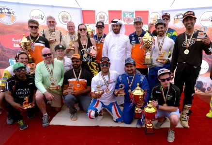 Mohammed Ben Sulayem with prize winners after the final round of the Emirates Desert Championship