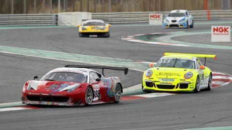 Leon Price (Ferrari) versus Wolfgang Triller (Porsche ) in the NGK Racing Series
