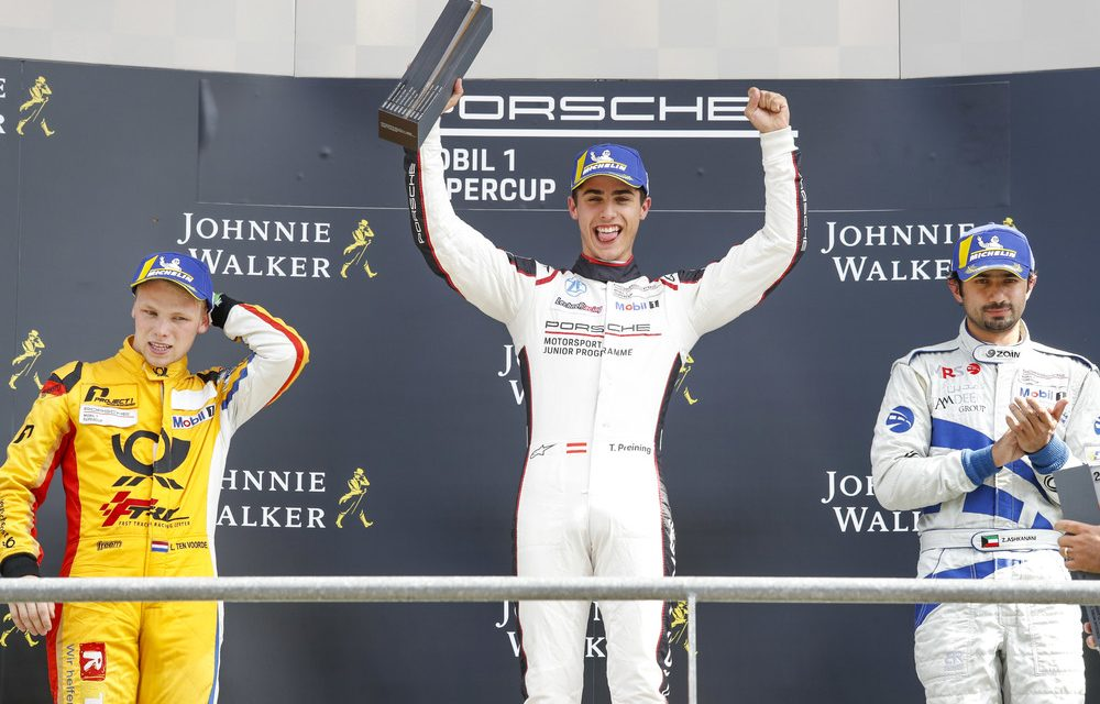 Porsche Supercup: Spa lights-to-flag victory for Preining with Ashkanani promoted to second place after post race penalty for Voorde