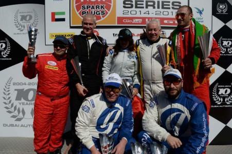 NGK Racing Series trophy winners on the Dubai Autodrome podium