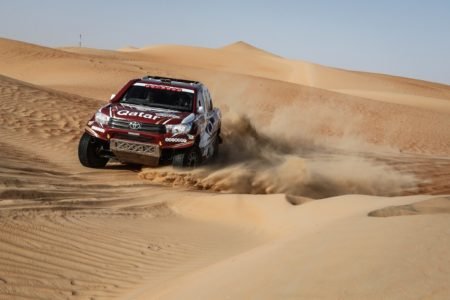 Al Attiyah and co-driver Mathieu Baumel in a Toyota Hilux, were fastest on the 234km Abu Dhabi Aviation Stage and reached the finish at Yas Marina Circuit holding an emphatic winning margin of 32 mins 13 secs