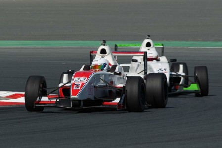 Tejas Hirani on his way to Race 1 victory in Formula Gulf 1000 at Dubai Autodrome