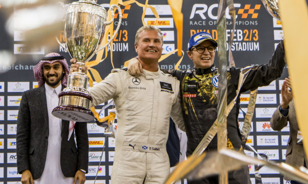 Riyadh: David Coulthard wins the Race Of Champions trophy for a second time