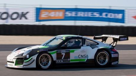 The #7 Porsche 997 GT3 R of Herberth Motorsport won the Hankook 12H ITALY-MUGELLO