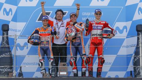 MotoGP podium (L-R): Pedrosa, Marquez, Lorenzo