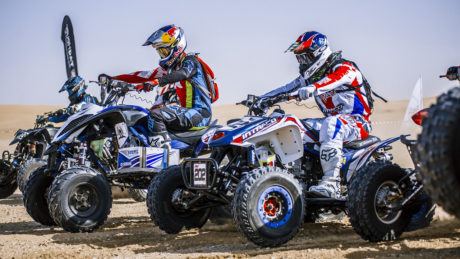 Quad bikes line up to begin the race.