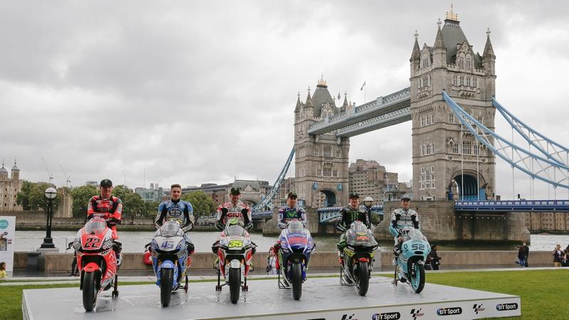 MotoGP: Riders gather under rainclouds at London Bridge ahead of British GP at Silverstone