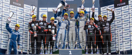 Car #47 / KCMG (HKG) / Oreca 05 - Nissan / Matthew Howson (GBR) / Richard Bradley (GBR) / Nicolas Lapierre (FRA), Car #26 / G-DRIVE RACING (RUS) / Ligier JS P2 - Nissan / Roman Rusinov (RUS) / Julien Canal (FRA) / Sam Bird (GBR), Car #28 / G-DRIVE RACING (RUS) / Ligier JS P2 - Nissan / Gustavo Yacaman (COL) / Luis Felipe Derani (BRA) / Ricardo Gonzalez (MEX), Podium Celebrations - 6 Hours of Nurburgring at Nurburgring Circuit - Nurburg - Germany