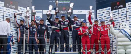 Car #72 / SMP RACING (RUS) / Ferrari F458 Italia / Victor Shaytar (RUS) / Andrea Bertolini (ITA) / Aleksey Basov (RUS), Car #83 / AF CORSE (ITA) / Ferrari F458 Italia / Francois Perrodo (FRA) / Emmanuel Collard (FRA) / Rui Aguas (PRT), Car #98 / ASTON MARTIN RACING (GBR) / Aston Martin Vantage V8 / Paul Dalla Lana (CAN) / Pedro Lamy (PRT) / Mathias Lauda (AUT), Podium - 6 Hours of Nurburgring at Nurburgring Circuit - Nurburg - Germany